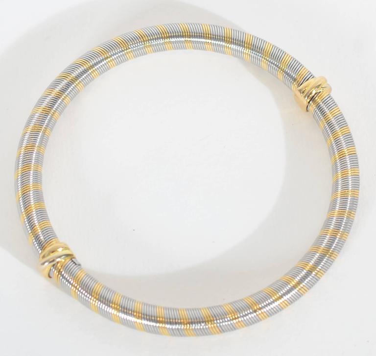 Modern Cartier Steel Gold Bangle Bracelet For Sale