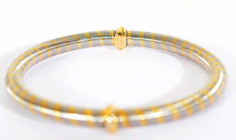 Cartier Steel Gold Bangle Bracelet In New Condition For Sale In Darnestown, MD