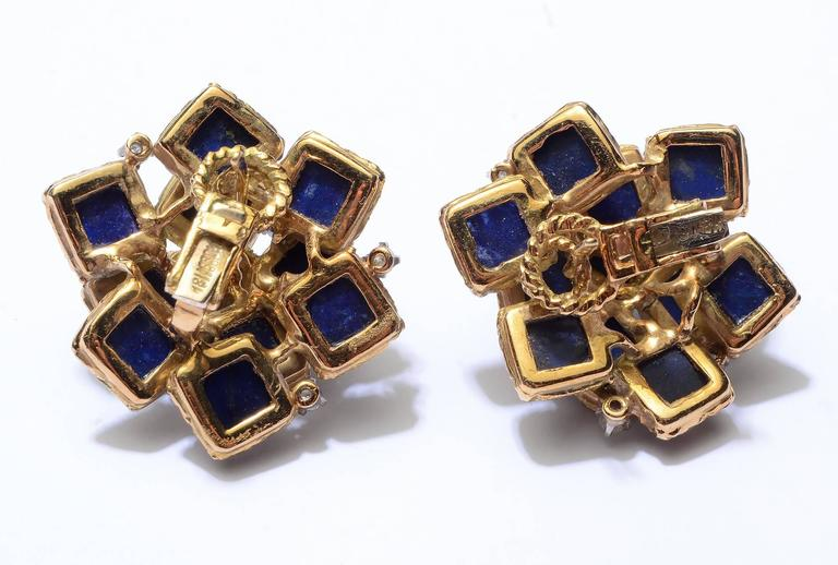 Lapis Lazuli Gold Earrings with Diamonds 3