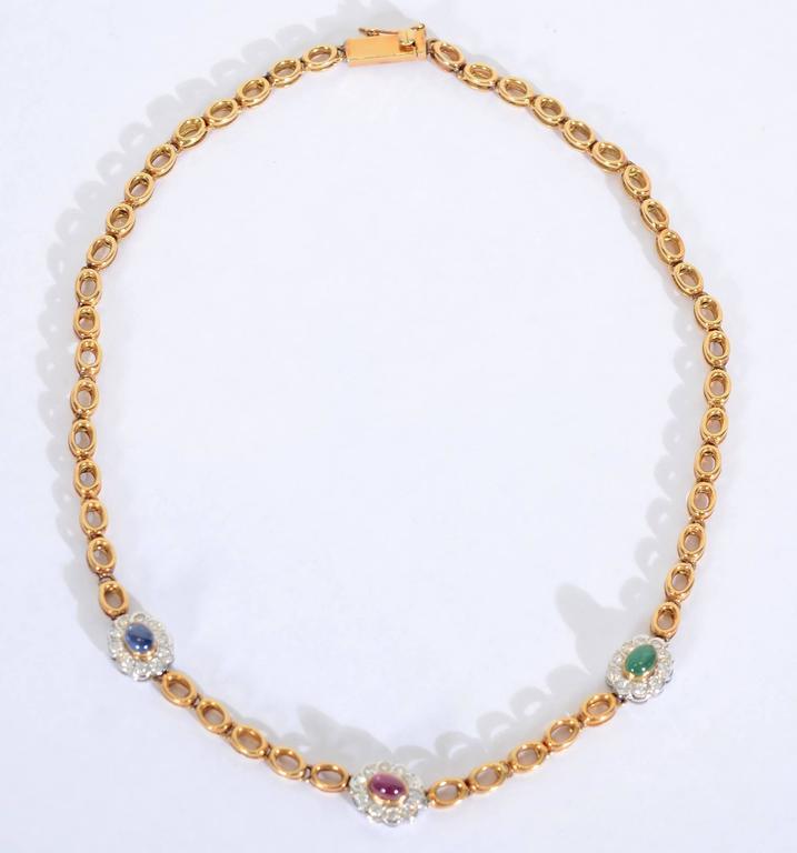 Sapphire Ruby Emerald Diamonds Gold Chain Necklace 2