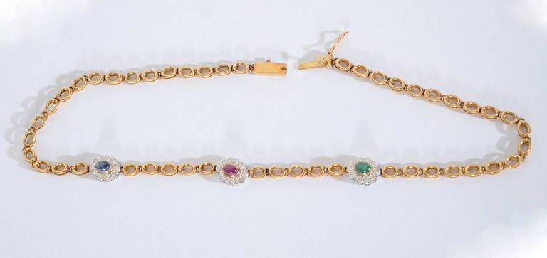 Sapphire Ruby Emerald Diamonds Gold Chain Necklace 3