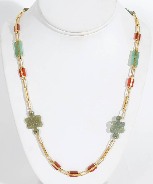 Jade Carnelian Gold Long Chain Necklace 2