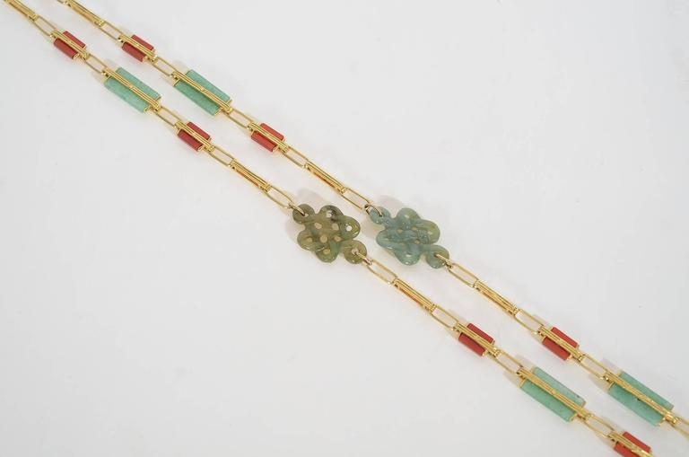 Jade Carnelian Gold Long Chain Necklace 4