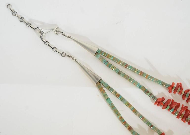 Native American Branch Coral and Turquoise Necklace In Excellent Condition In Darnestown, MD