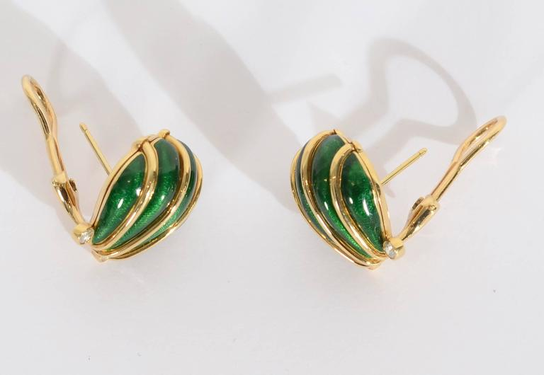 Tiffany & Co. Schlumberger Enamel and Diamond Shell Earrings In As New Condition For Sale In Darnestown, MD