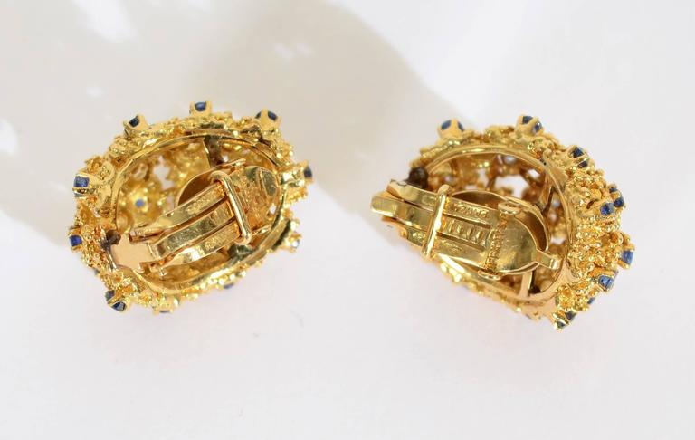 Tiffany & Co. Sapphire Gold Earrings In Excellent Condition For Sale In Darnestown, MD