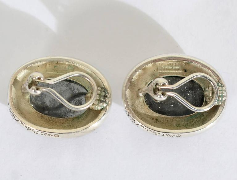 Paloma Picasso Hematite Silver Earrings In Excellent Condition For Sale In Darnestown, MD