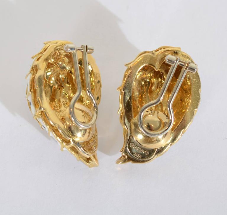 David Webb Enamel Gold Earrings 3