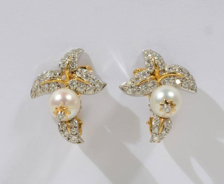 Tiffany & Co. Schlumberger Diamond  Pearl Earrings 2