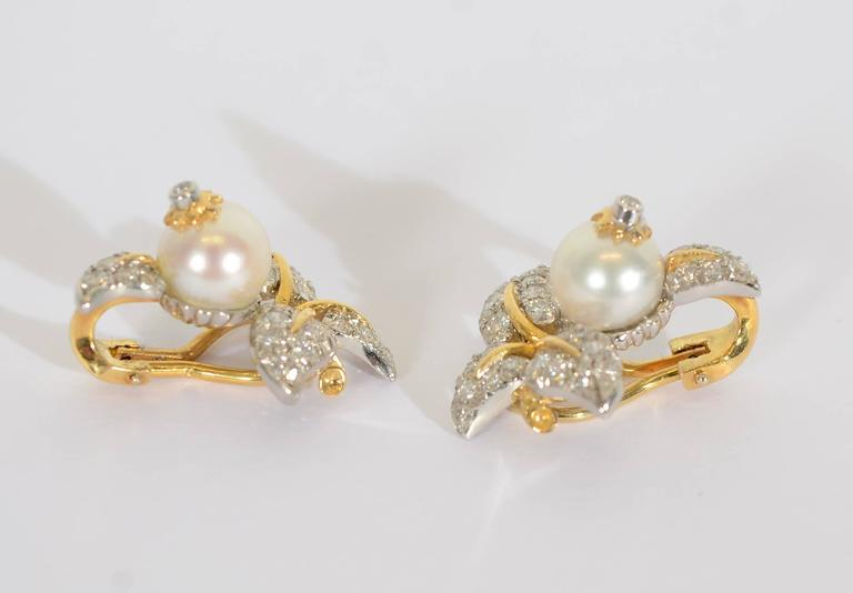 Tiffany & Co. Schlumberger Diamond  Pearl Earrings 3