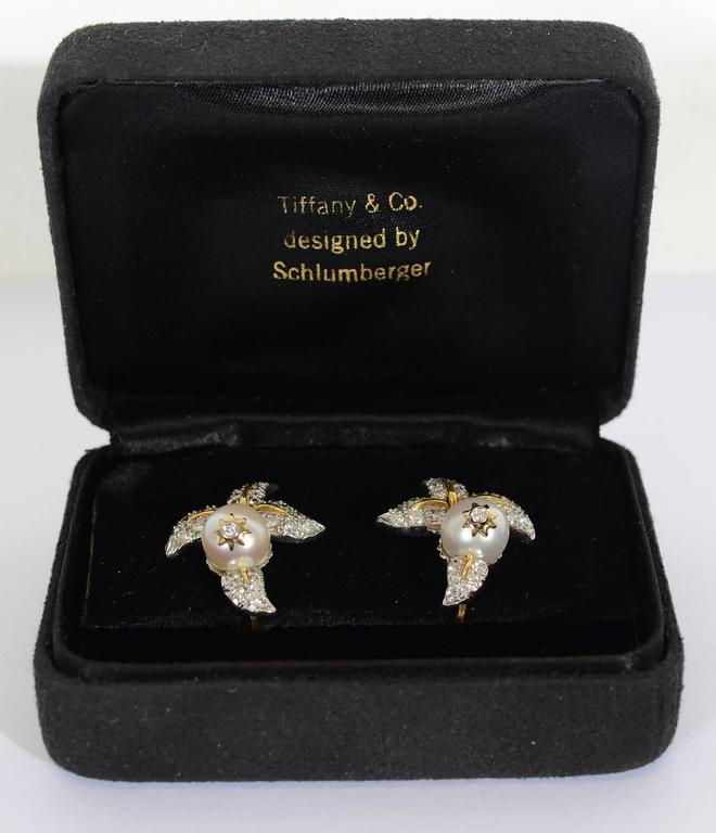 Tiffany & Co. Schlumberger Diamond  Pearl Earrings 5