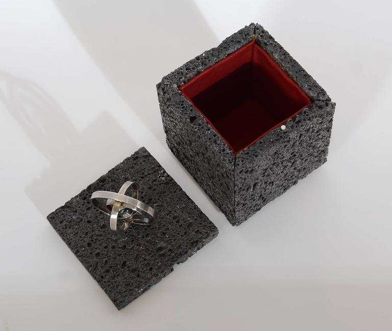 Volcanic Lava Box with Sterling Silver Finial In As New Condition For Sale In Darnestown, MD