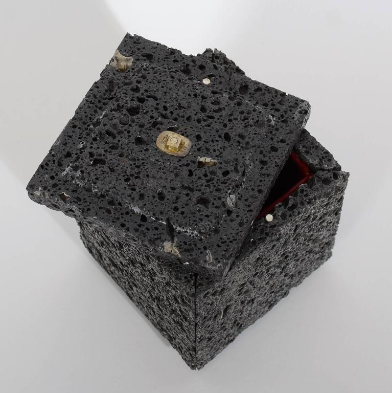 Women's or Men's Volcanic Lava Box with Sterling Silver Finial For Sale