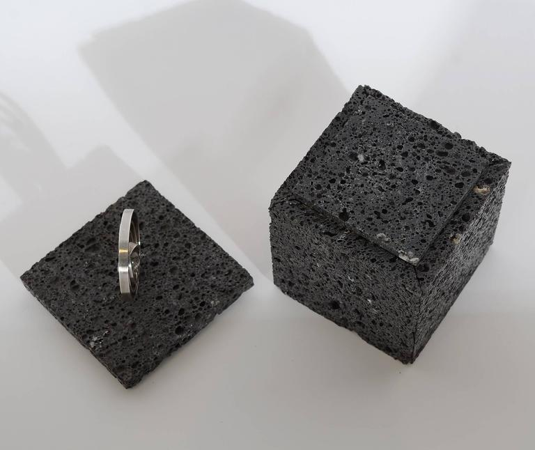 Volcanic Lava Box with Sterling Silver Finial For Sale 2