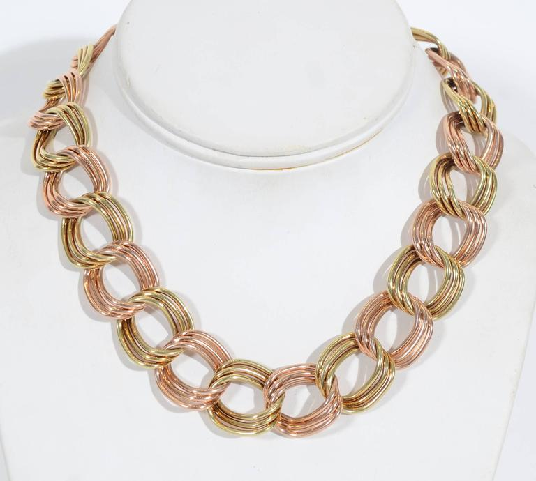 Tiffany & Co. Retro Two Color Gold Necklace 2