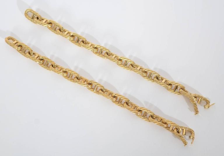 Women's Pair Rope Gold Oval Links Bracelets For Sale