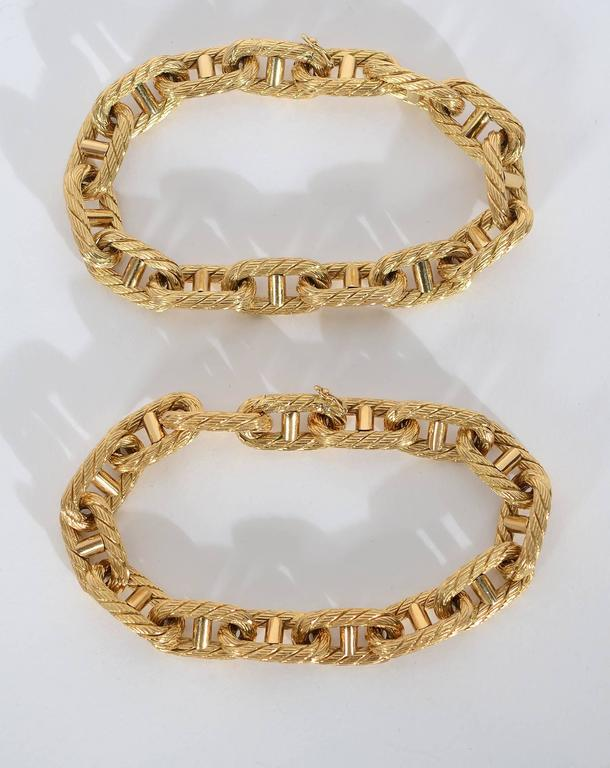 Pair Rope Gold Oval Links Bracelets In Excellent Condition For Sale In Darnestown, MD