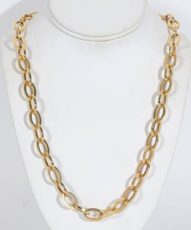 Long Heavy Gold Oval Links Chain Necklace 2
