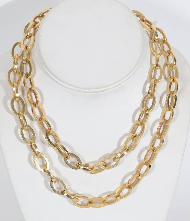 Long Heavy Gold Oval Links Chain Necklace 3