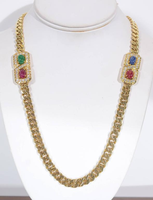 Long Curbchain Link Necklace with Gems 2