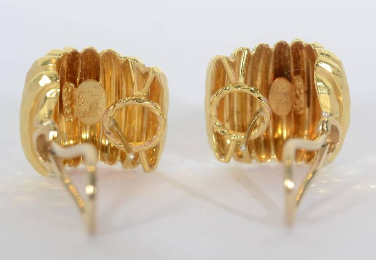 Women's Henry Dunay Gold Ribbed Earrings For Sale
