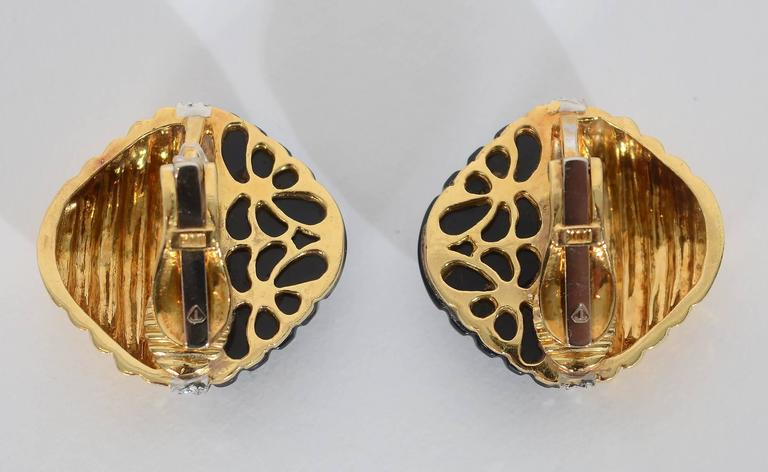 Trianon Carved Onyx Diamond Gold Ear Clips In Excellent Condition For Sale In Darnestown, MD