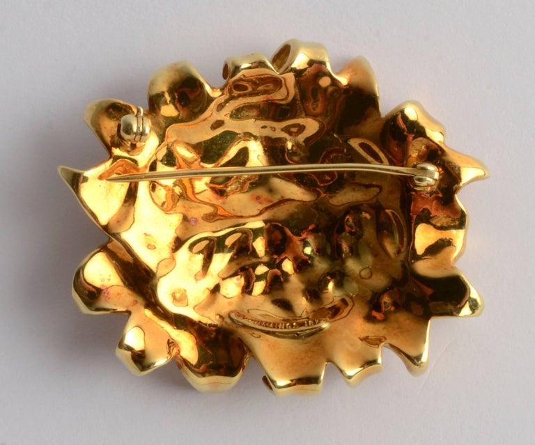 Modern Angela Cummings Gold  and Enamel Sunflower Brooch For Sale