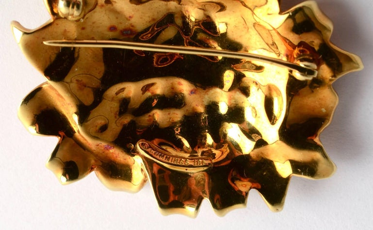 Angela Cummings Gold  and Enamel Sunflower Brooch In Excellent Condition For Sale In Darnestown, MD