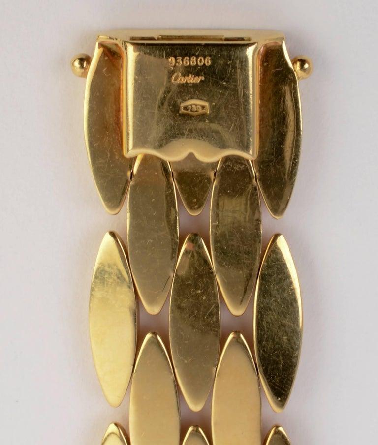Women's Cartier Navette Shaped Gold Link Bracelet For Sale