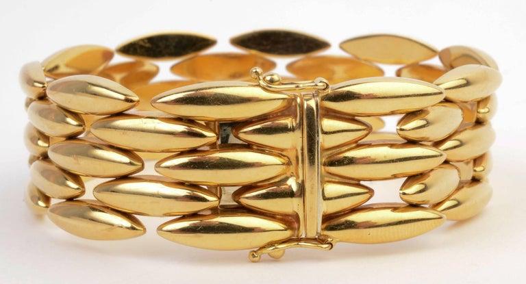 Cartier Navette Shaped Gold Link Bracelet For Sale 1