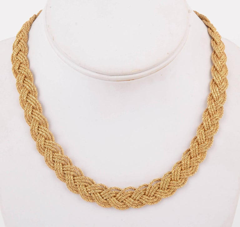 Modern Tiffany & Co. Gold Braided Choker Necklace For Sale