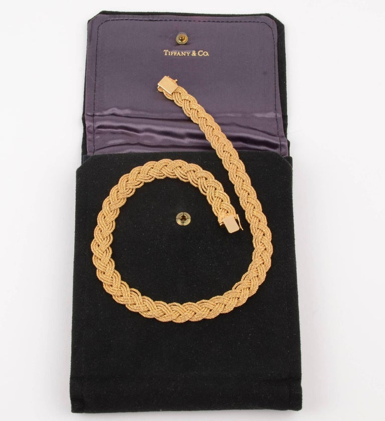 Tiffany & Co. Gold Braided Choker Necklace In Excellent Condition For Sale In Darnestown, MD