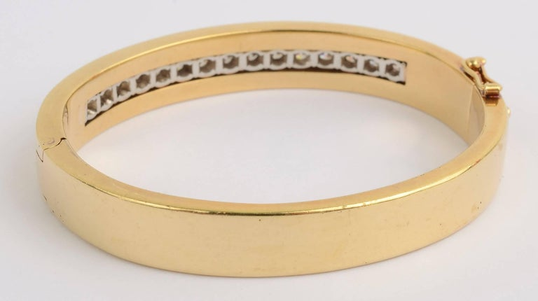 Modern Tiffany & Co. Diamond Gold Bangle Bracelet For Sale
