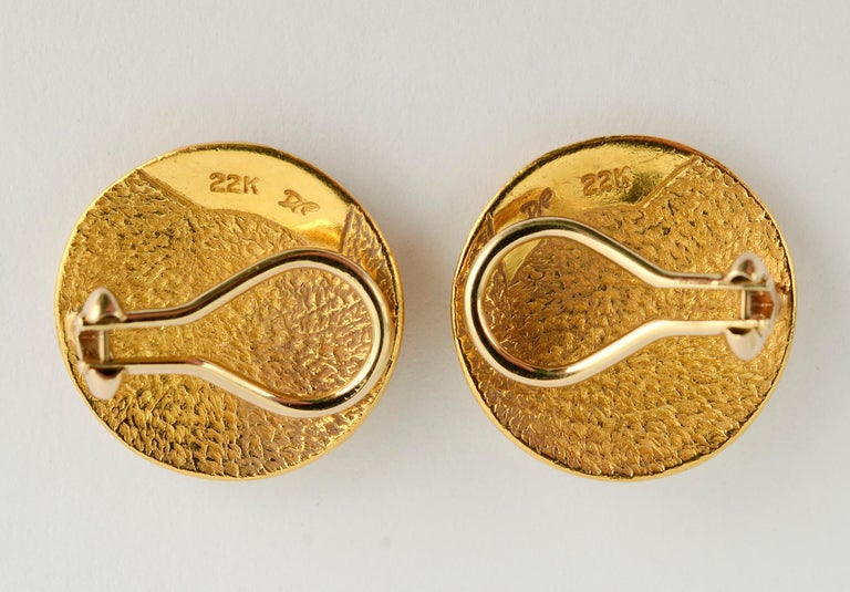Modern Denise Roberge Gold Button Earrings with Coiled Design For Sale
