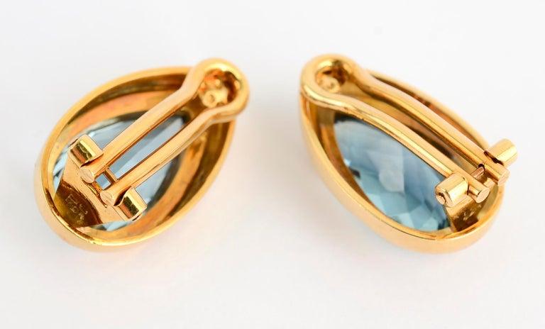 Modern Haroldo Burle Marx Blue Topaz Gold Earrings For Sale