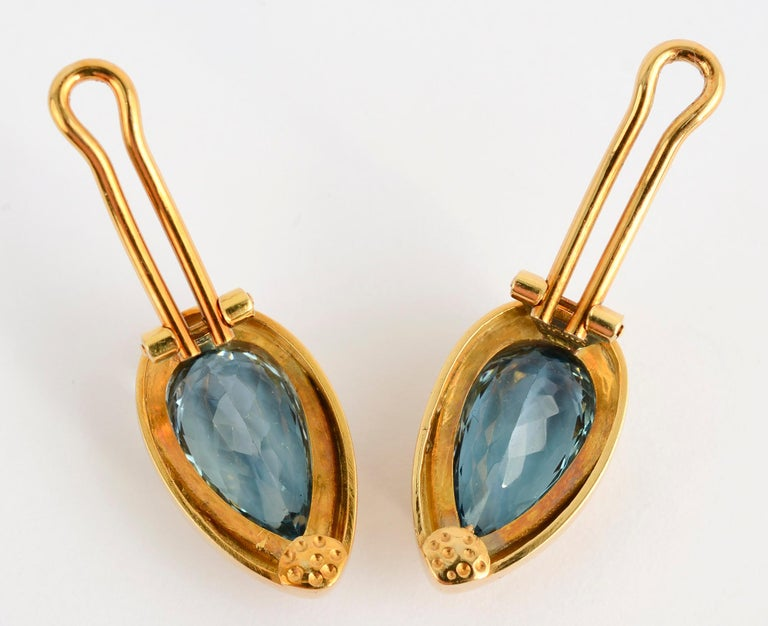 Haroldo Burle Marx Blue Topaz Gold Earrings In Excellent Condition For Sale In Darnestown, MD