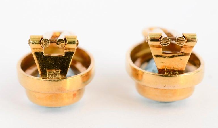 Women's or Men's Haroldo Burle Marx Blue Topaz Gold Earrings For Sale
