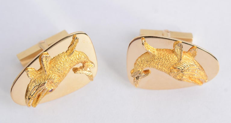 Tiffany & Co. Gold Whale Cufflinks For Sale 2