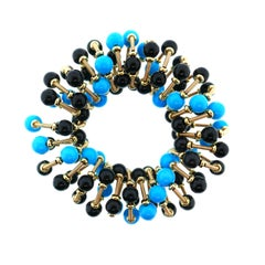 Italian 18 Karat Yellow Gold Turquoise and Onyx Scrunchie Bracelet