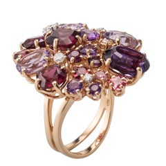 Multi-Color Amethyst Garnet Diamond 18 Karat Rose Gold Ring