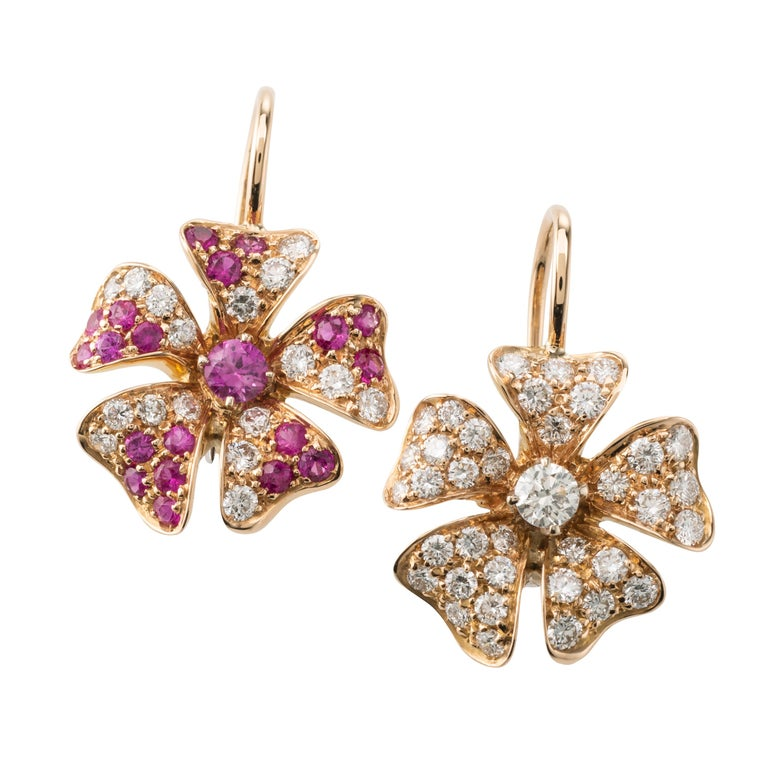 Pink Sapphire Diamond 18 Karat Rose Gold Flower Earrings