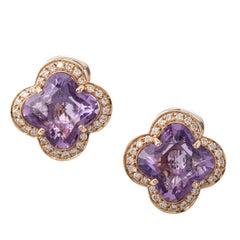 Fancy Amethyst Diamond 18 Karat Rose Gold Earrings