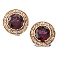Garnet Diamond 18 Karat Rose White Gold Earrings