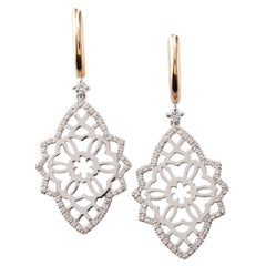 Diamond Two-Tone 18 Karat Gold Earrings
