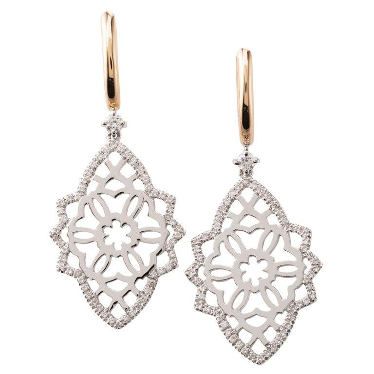 Diamond Two-Tone 18 Karat Gold Earrings