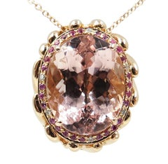 Pink Morganite Diamond Pink Sapphire 18 Karat Rose Gold Necklace