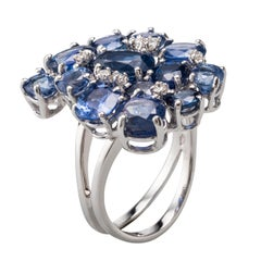 Blue Sapphire Diamond 18 Karat White Gold Cocktail Ring
