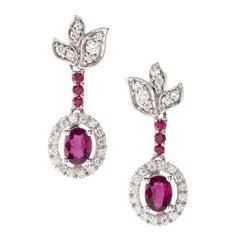 Ruby Diamond 18 Karat White Gold Dangle Earrings