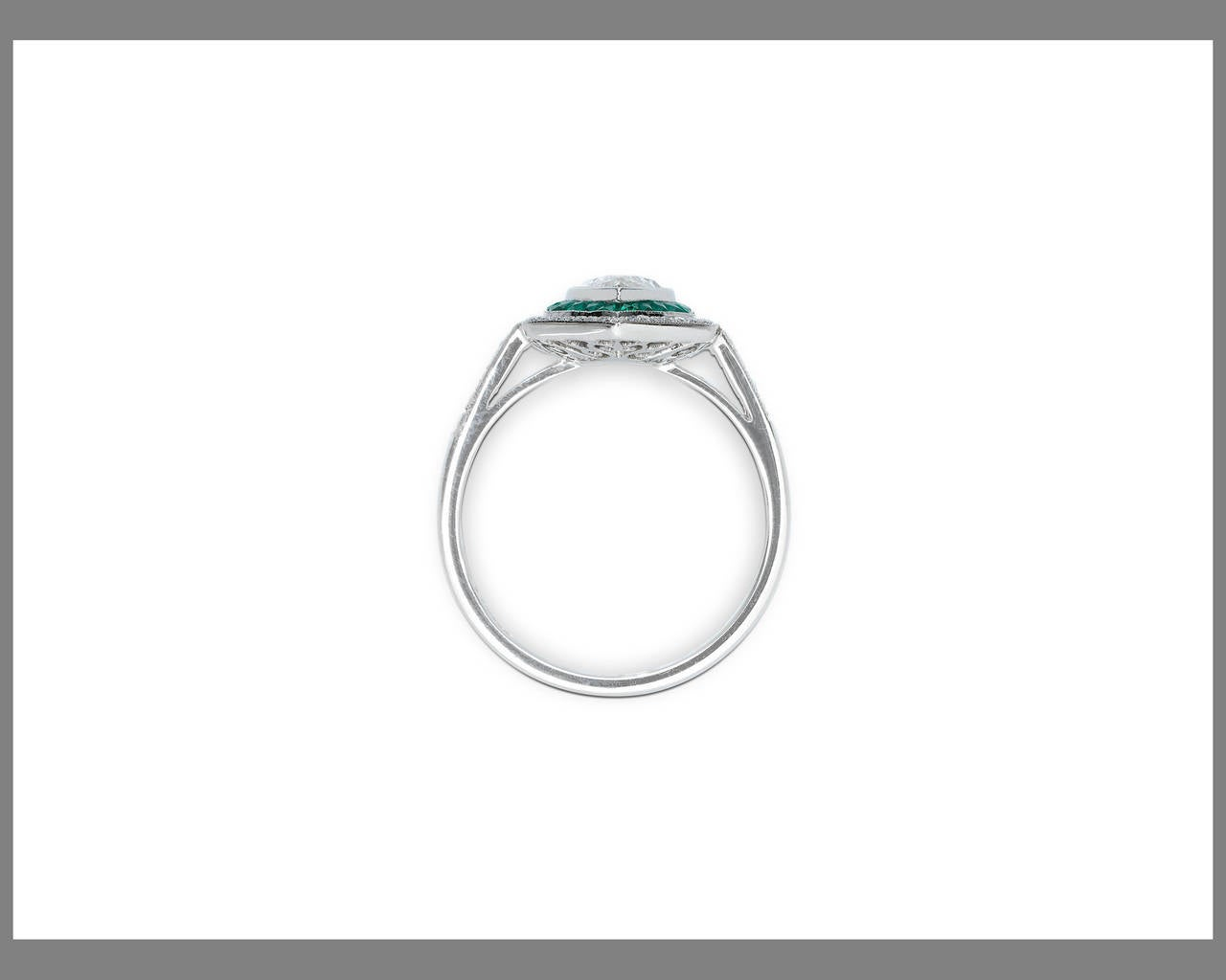 Art Deco-Style Diamond and Emerald Ring 2