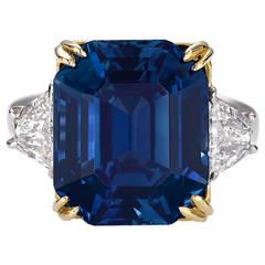 18.50 Carat Untreated Kashmir Sapphire Diamond Gold Platinum Ring
